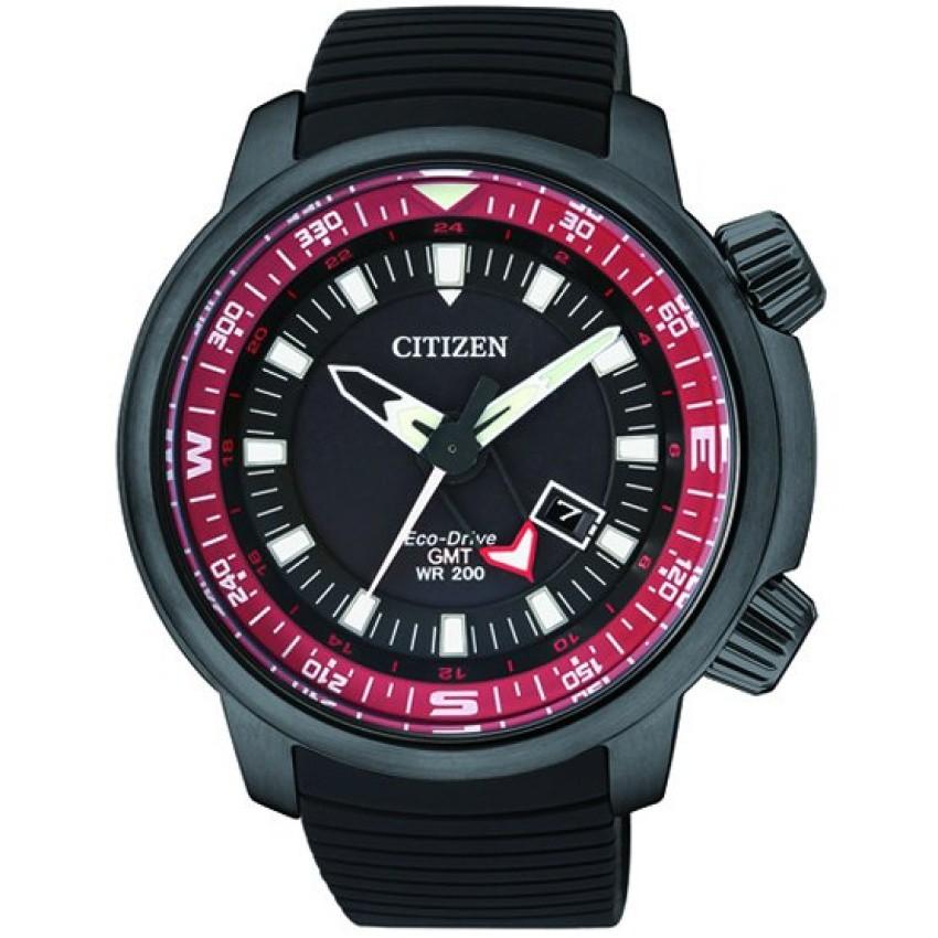 Citizen Men's Black Eco-Drive GMT Diver's Watch Black siliconestrap รุ่น BJ7085-09E