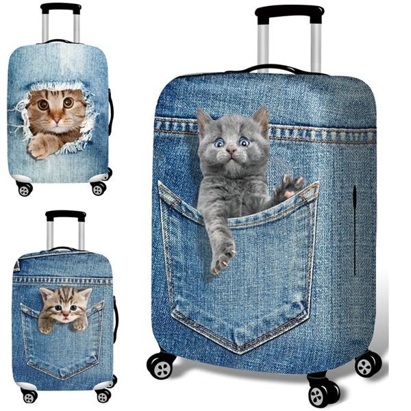 ผ้าคลุมกระเป๋าเดินทางลายแมวขนาด 18-32 นิ้ว