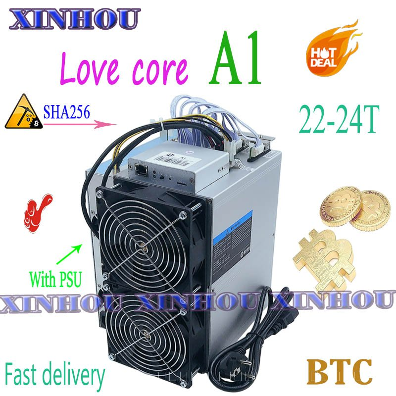BTC BCH Miner Love Core A1 22-24T SHA256 ASIC Miner กับ PSU ทางเศรษฐกิจมากกว่า M20S M21S T3 t2 T2T Antminer S9 S17 T17 S