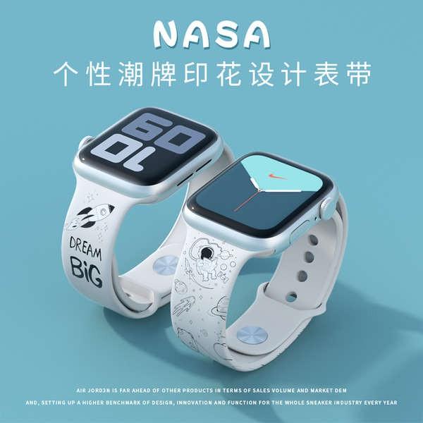 สาย applewatch นักบินอวกาศบุคลิกภาพอินเทรนด์แบรนด์ AJ สายพิมพ์ สาย applewatch Apple watch 6/5/4 รุ่น iwatch 1/2/3 สาย SE