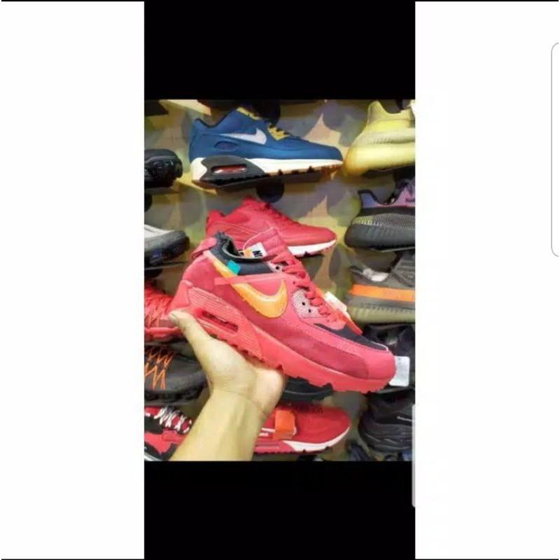 Nike Airmax 90 Off รองเท้าผ้าใบลําลองสีขาวแบบเต็ม