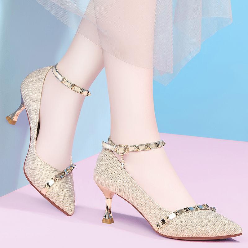 รองเท้าส้นสูง หัวแหลม ส้นเข็ม ใส่สบาย New Fshion รองเท้าคัชชูหัวแหลม  รองเท้าแฟชั่นรองเท้าส้นสูงผู้หญิงแฟชั่นใหม่ทุกแมตช