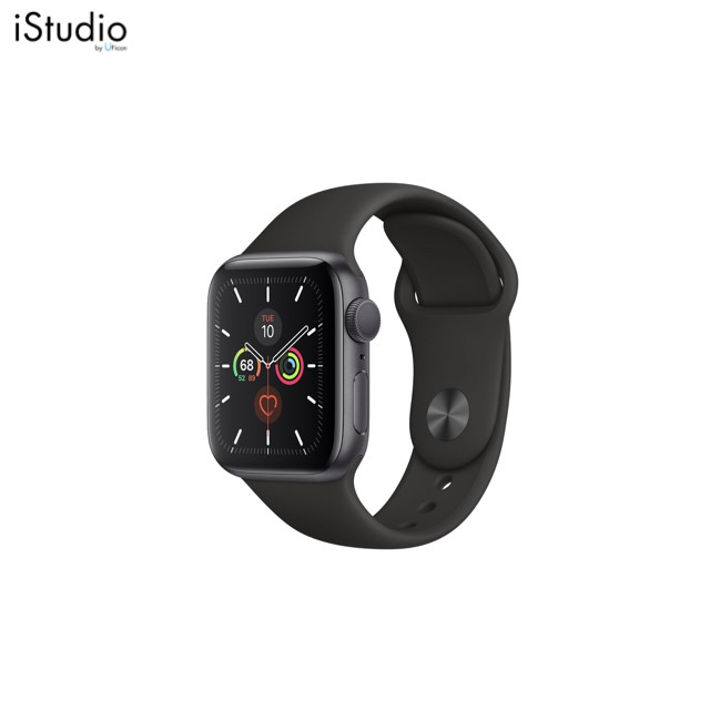 Apple Watch Series5 Space gray Aluminum Case with Black Sport Band ; iStudio by UFicon