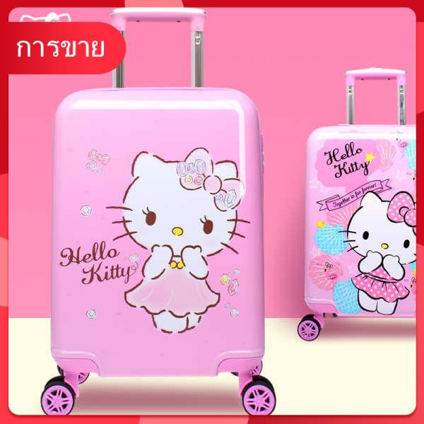 helloKitty trolley luggage กระเป๋าเดินทางเด็กผู้หญิงกระเป๋าเดินทางลายการ์ตูนน่ารัก 18 นิ้วแบบใหม่นั่งได้เปลือกแข็ง