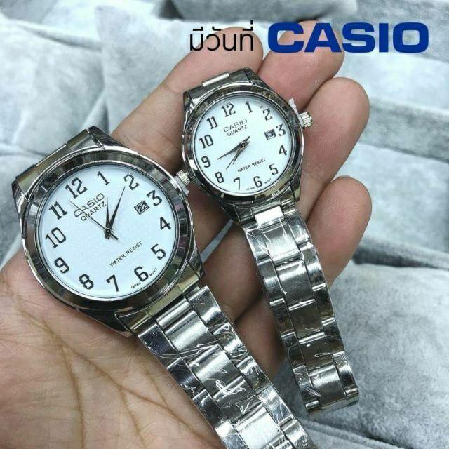 นาฬิกาคู่รัก Casio นาฬิกาข้อมือสายสแตนเลส สีเงิน✨มีเก็บเงินปลายทาง✨มีช่องบอกวันที่ 🔥พร้อมส่ง✨ราคาพิเศษ