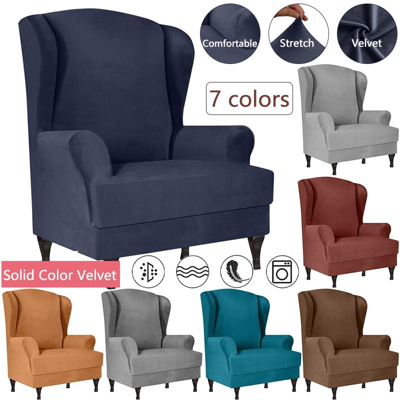 Dust Proof Velvet Sofa Chair Cover, Velvet Wing Chair Cover