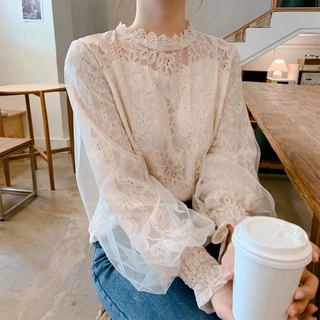 Review korean Lace embroidery mesh inner Tops casual Long sleeve loose fashion solid blouse