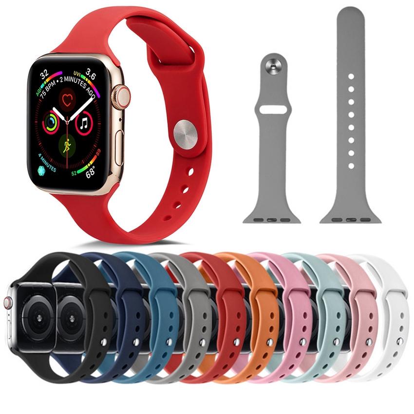 สายนาฬิกาข้อมือซิลิโคนสําหรับ Apple Watch Band 40 มม . 44 มม . 42 มม . Series Se 6 5 4 3 2 1 Iwatch