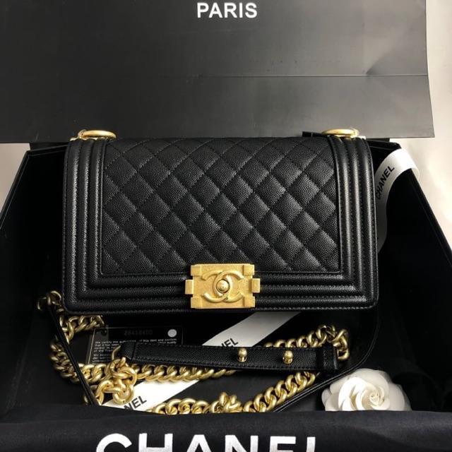 Chanel boy 25cm caviar อะไหล่ทอง หนังคารเ์เวียร์ 10 นิ้ว หนังแท้ ไฮเอน