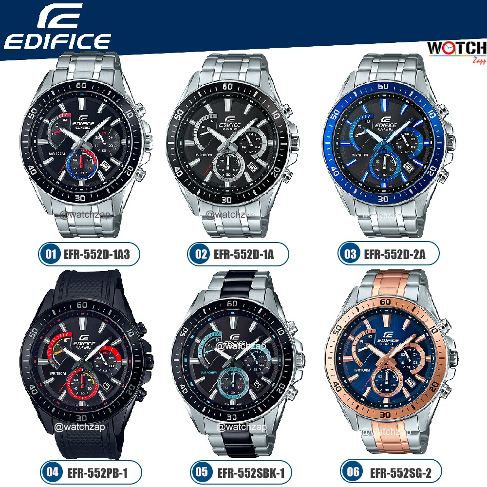 Casio Edifice Chronograph นาฬิกาข้อมือผู้ชาย สีดำ สายสแตนเลส รุ่น EFR-552 EFR-552D EFR-552SBK EFR-552SG EFR-552PB
