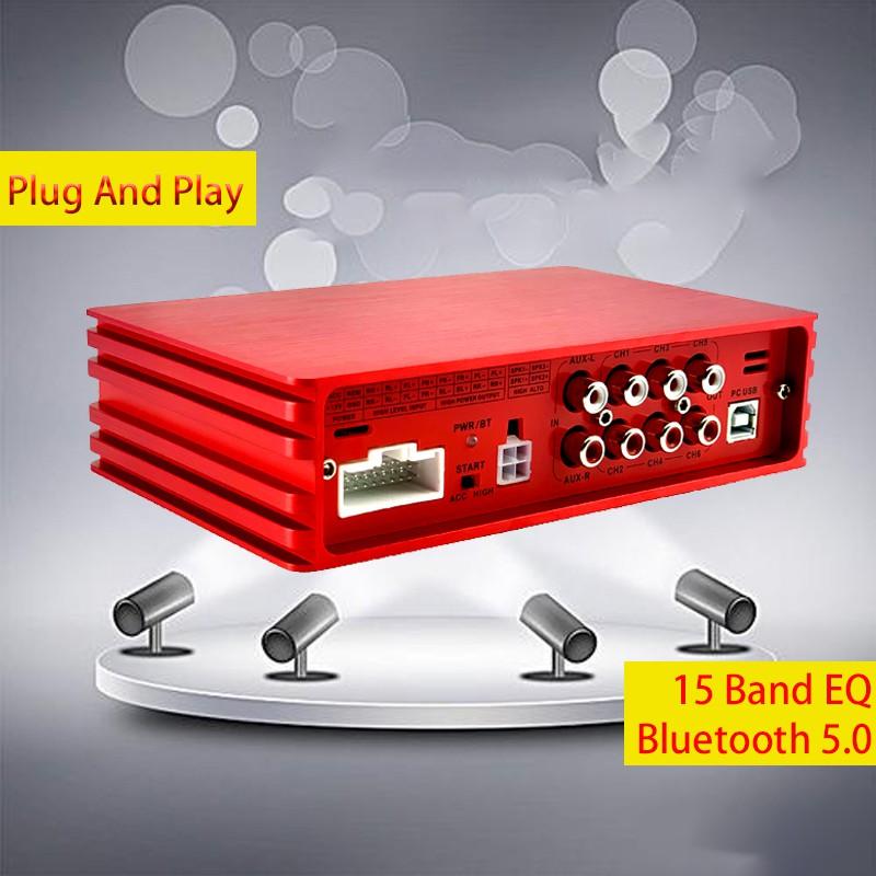 Audxeon d1600 6 channel car dsp+amp 15 band eq Equalizers 4 input 6 output บลูทูธสําหรับรถยนต์