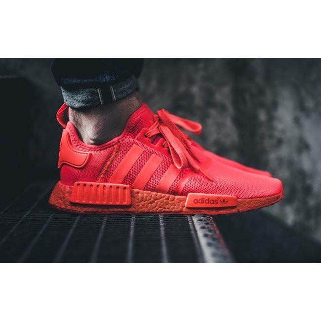 [Jiaye]Adidas เพิ่ม NMD R1 แสงอาทิตย์สีแดงตาข่ายสีแดงวิ่งออกกำลังกายทุกรอบชายและหญิงคู่ S31507