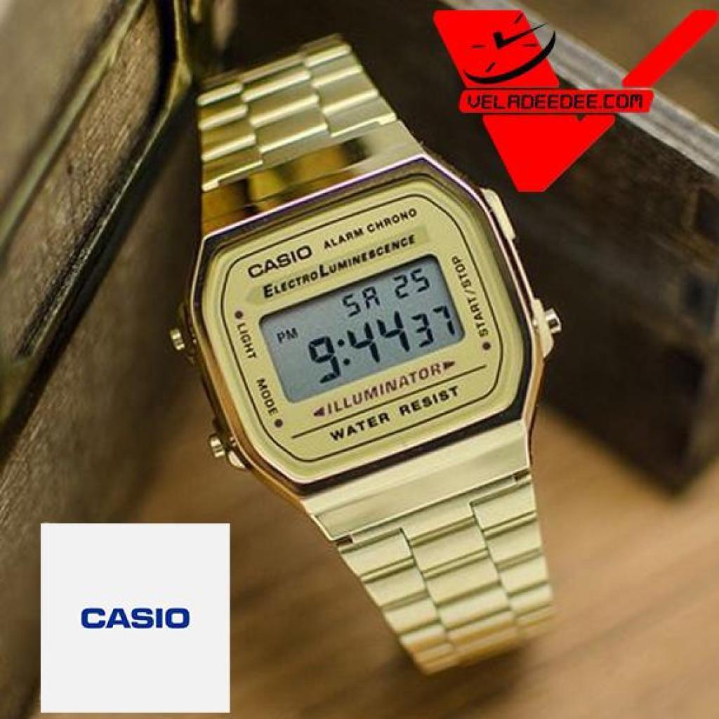 Veladeedee นาฬิกา  Casio A-168WG (ประกัน CMG ศูนย์เซ็นทรัล1ปี) นาฬิกาข้อมือ สายสแตนเลส รุ่น A168WG-9WDF - Gold