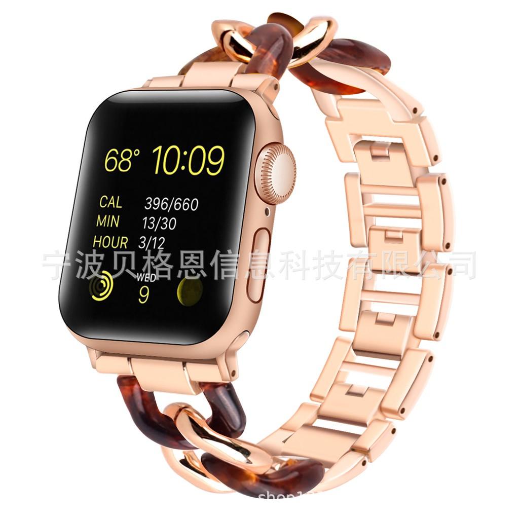 สาย Applewatch2020ปีสำหรับ Apple เรซิ่นสายคล้องโซ่สแตนเลสapple watchสายแฟชั่นiwatch