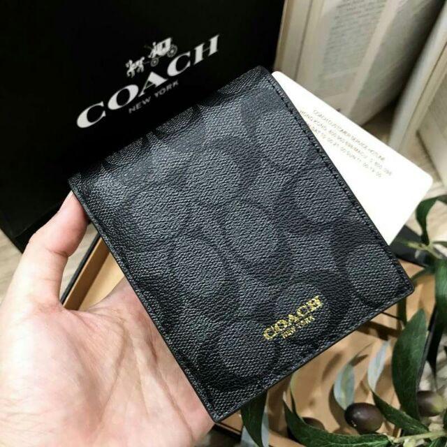 COACH FACTORY SHORT WALLET WITH CARD POCKET & KEY CHAIN ชุดกระเป๋าสตางค์ใบสั้นและกระเป๋าใส่บัตร วัสดุหนังแท้ สีดำ PAeL 0