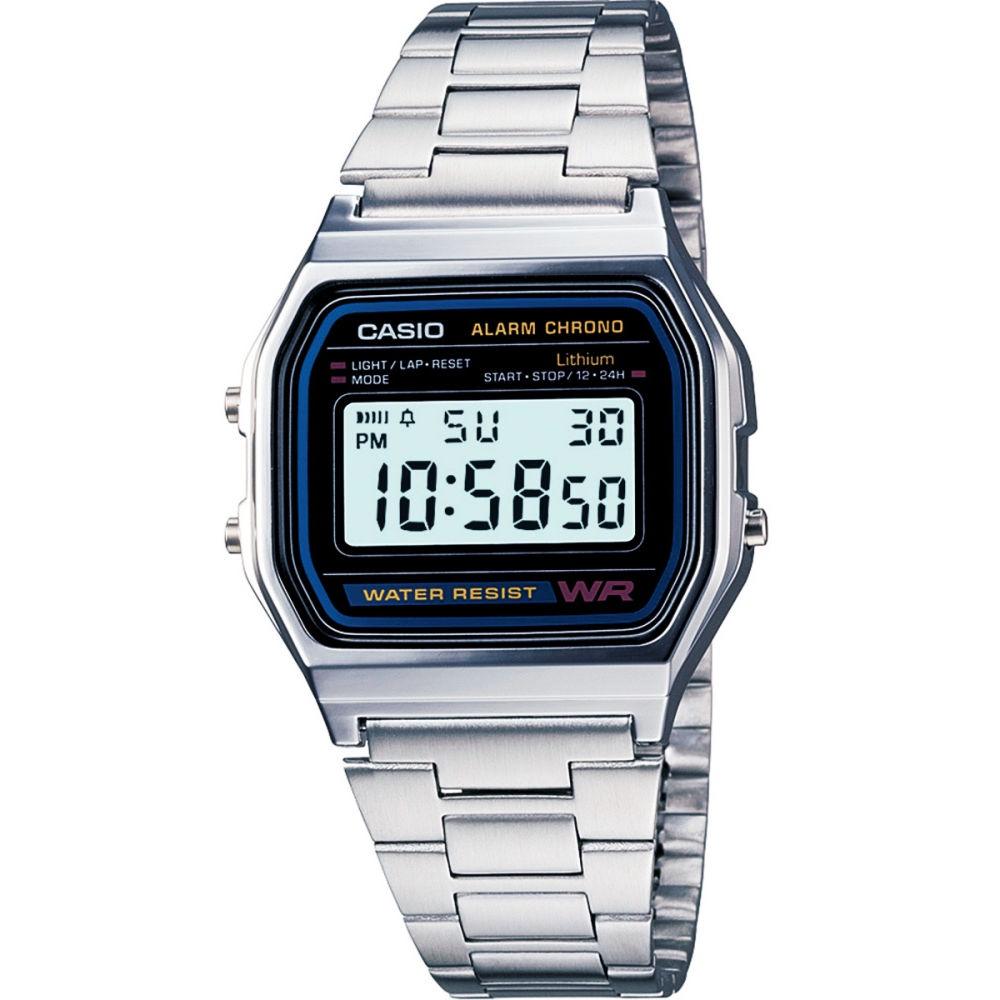 จัดส่งฟรีCasio Digital นาฬิกาข้อมือ สีเงิน สายสแตนเลส รุ่น A158WA-1 ของแท้ ประกัน CMG