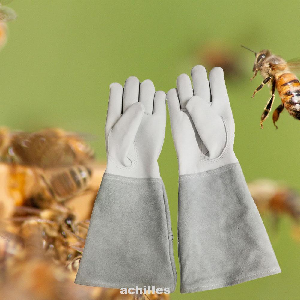 Beekeepers White Leather Gloves S Size