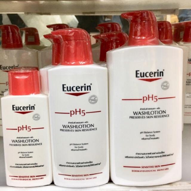 Eucerin pH5 wash lotion (sensitive skin) ยูเซอรีน โลชั่นอาบน้ำถนอมผิว สูตรอ่อนโยน 200/400/1