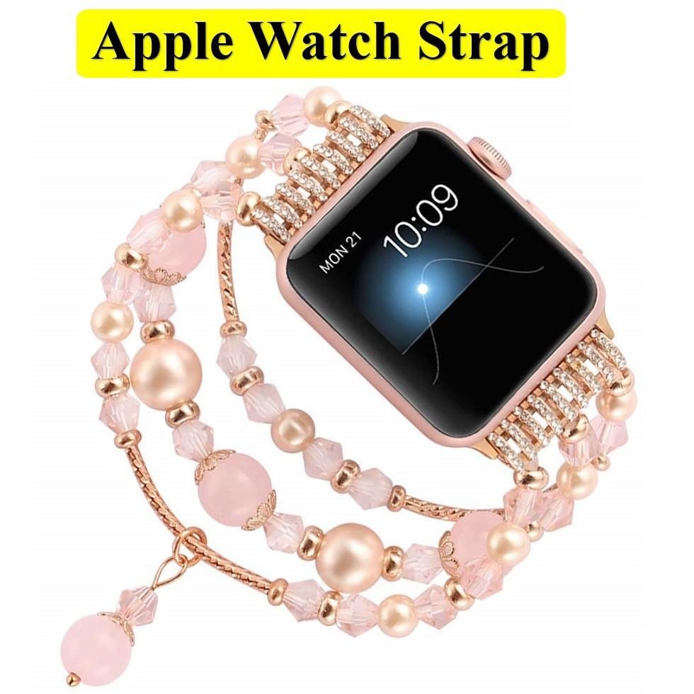 ✮หรูหรา สายนาฬิกา Apple Watch ทำด้วยมือ ลูกปัด สาย Applewatch Series 1/2/3/4/5/6 / Apple Watch SE Size 38มม.40มม 42มม.44