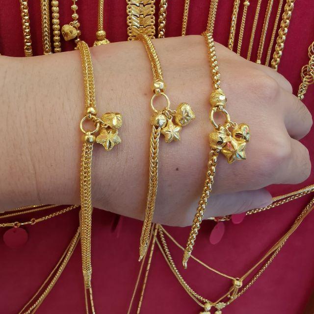 สร้อยมือทอง 96.5%  น้ำหนัก 2 สลึง ยาว 16-17.5cm ราคา 14,900บาท