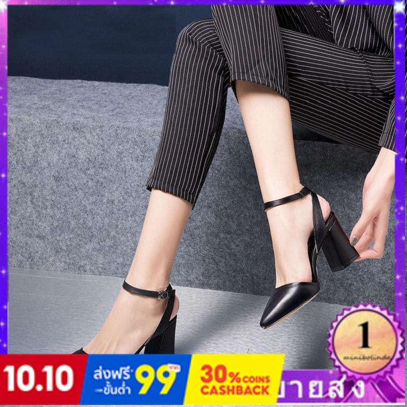 ⭐👠รองเท้าส้นสูง หัวแหลม ส้นเข็ม ใส่สบาย New Fshion รองเท้าคัชชูหัวแหลม  รองเท้าแฟชั่นรองเท้าแตะผู้หญิงรองเท้าใหม่หนังคำห