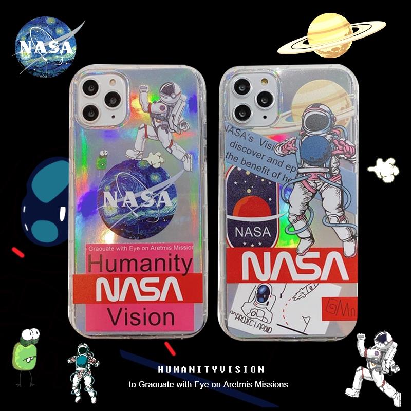 กรณีโทรศัพท์มือถือ NASA นักบินอวกาศสีแสงใสป้องกันการล่มสลายฝาครอบป้องกันสำหรับ iPhone 11 Pro Max / 11 / 11Pro XR XS MAX 8Plus 7 SE i6 i6s Apple Case