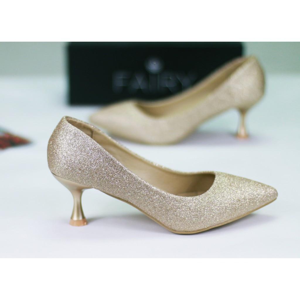 ☞✆รองเท้า 12732 รองเท้าผู้หญิง รองเท้าคัชชู ส้นสูง แฟชั่น เกล็ดเพชร 2.5 นิ้ว  FAIRY รุ่น 12732-C1A