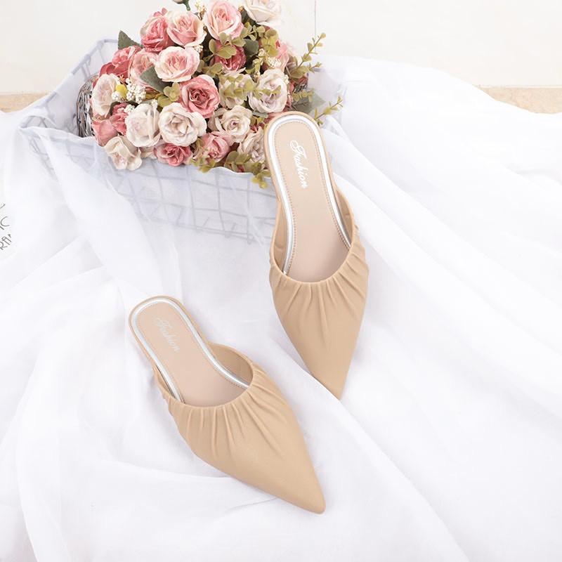 เปิดส้น  ส้นแบนหัวแหลม รองเท้าส้นแบนหัวแหลม ส้นสูง รองเท้าคัชชู รองเท้าผู้หญิง รองเท้าหญิงแฟชั่น รองเท้าปิดหัวเปิดส้น แบ
