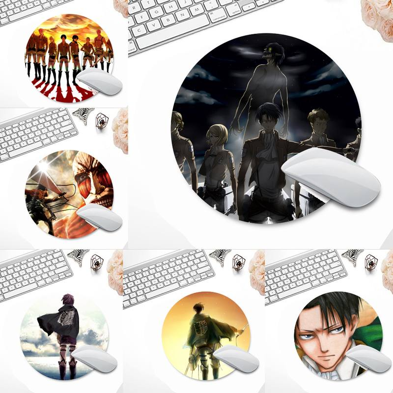 แผ่นรองเมาส์ Attack On Titan Rubber PC Computer Gaming mousepad Desk Table Protect Game Office Work Round Mouse Mat pad Laptop Cushion