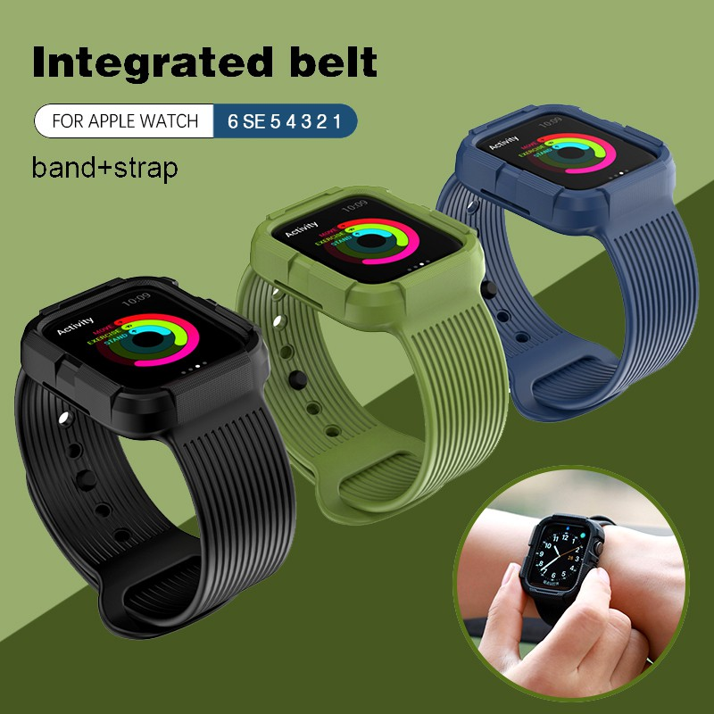 Case+strap for Apple Watch Strap 44 mm 40mm iWatch band 42mm 38mm silicone bumper+bracelet apple watch 6 SE 5 4  38 42 44mm