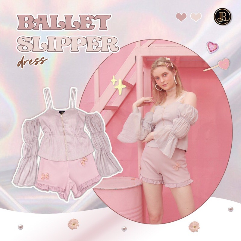 Ballet Slipper minidress BLT BRAND : ชุดเซตเปิดไหล่สีชมพู