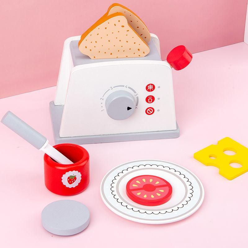 จัดส่งที่รวดเร็ว☊Baby Wooden Play House เครื่องทำขนมปังไมโครเวฟชุดเครื่องชงกาแฟเด็กจำลองของเล่นตัดครัว
