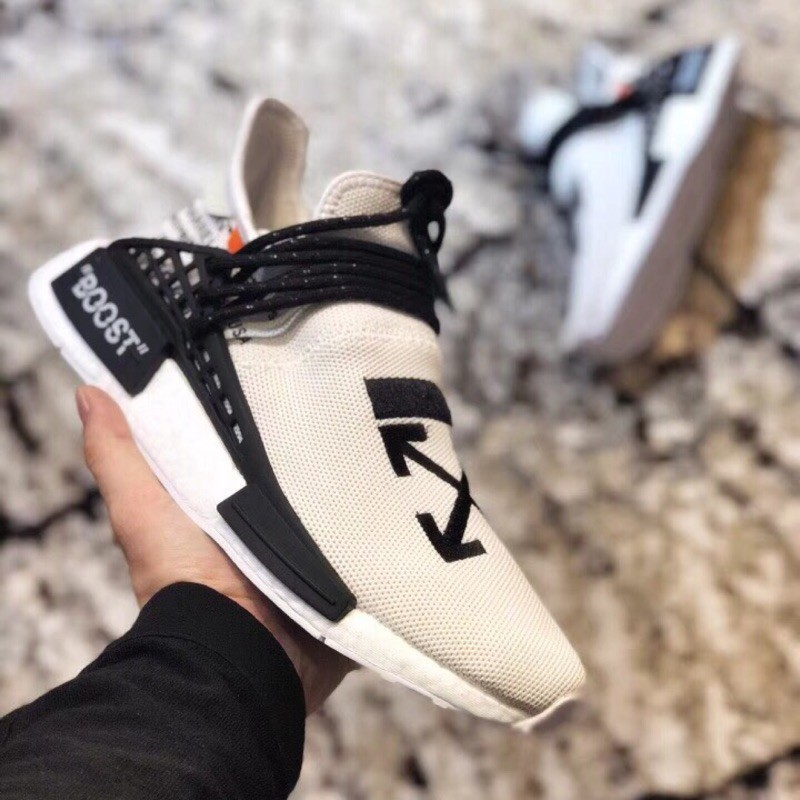 (company) Off White X Pharrell X Adidas Nmd Hu Race Trail รองเท้าผ้าใบลําลองเหมาะกับการเล่นกีฬา