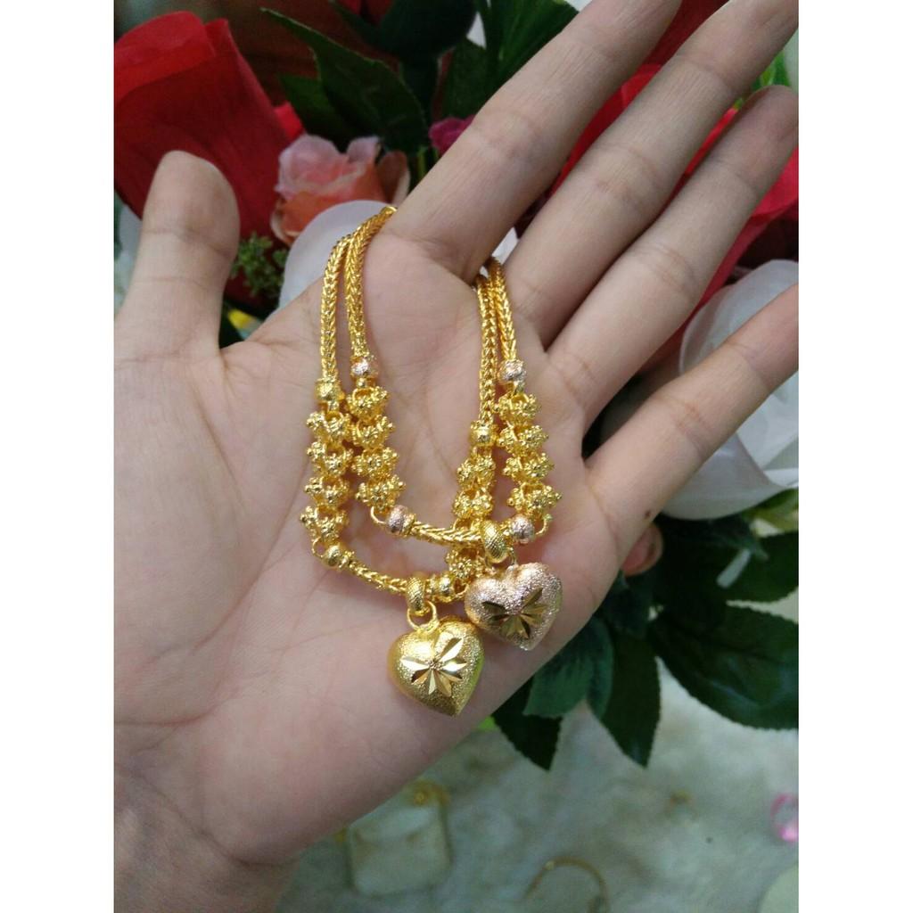 สร้อยข้อมือทองหุ้ม 5 ไมครอน สลับดอกพิกุลพร้อมจี้หัวใจดวงโตๆค่ะ ราคาเพียง 790 บาทค่า มี 2 แบบค่ะ พิงค็โกลและทองค่ะ