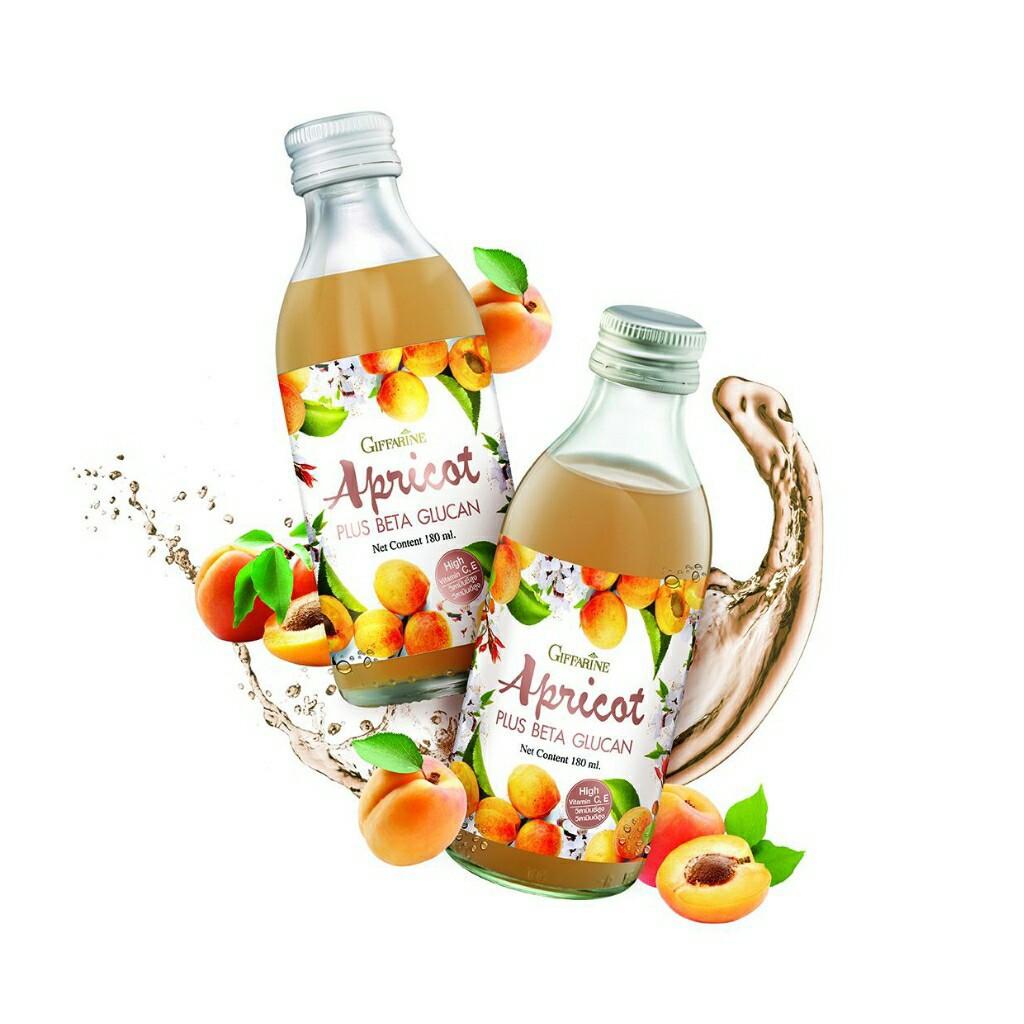 เครื่องดื่ม แอพริคอต พลัส เบต้ากลูแคน เครื่องดื่มน้ำองุ่นขาวผสมน้ำแอพริคอต 20 %และเบต้ากลูแคน Apricot Plus Beta Glucan