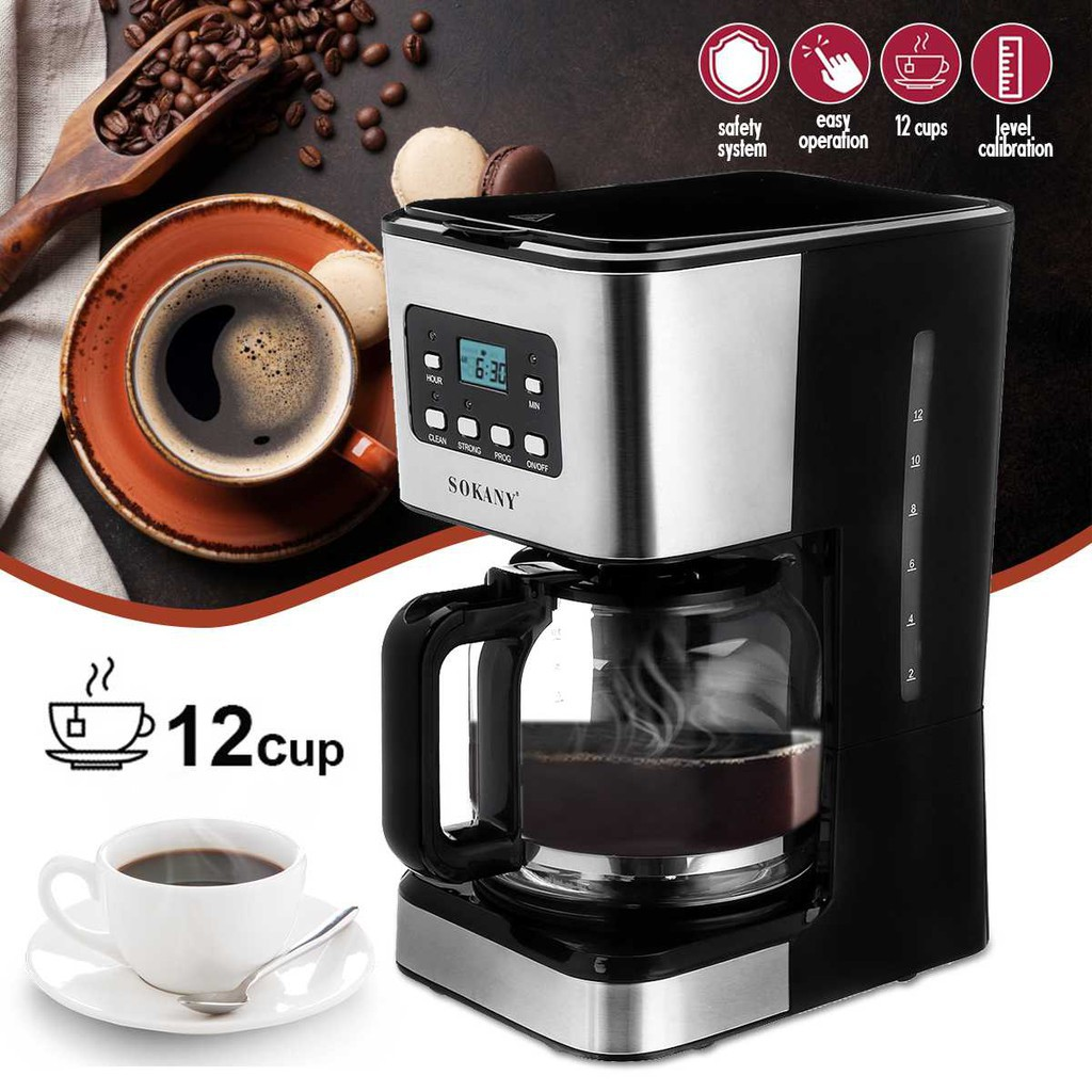 ShopE เครื่องชงกาแฟ เครื่องทำกาแฟ 12ถ้วย กึ่งอัตโนมัติ เอสเปรสโซ Cappuccino LATTE 22 เครื่องทำกาแฟ เครื่องต้มกาแฟ กาแฟสด