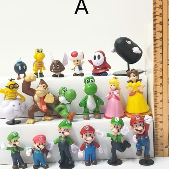 ของเล่นฟิกเกอร์ Mario Bross Action Figure 18 ชิ้นสําหรับตกแต่งเค้ก