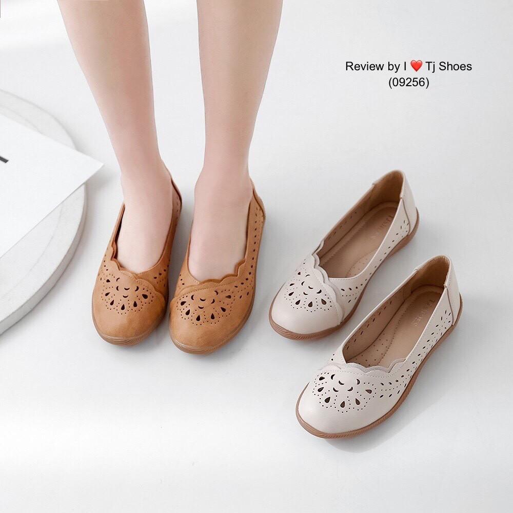 ไซส์36-41 รองเท้าเพื่อสุขภาพผู้หญิง Tj Shoes 09256 นุ่มเบาใส่สบาย หนังนิ่ม คัชชู ส้นแบน ลำลอง หุ้มส้น ไซส์พิเศษ