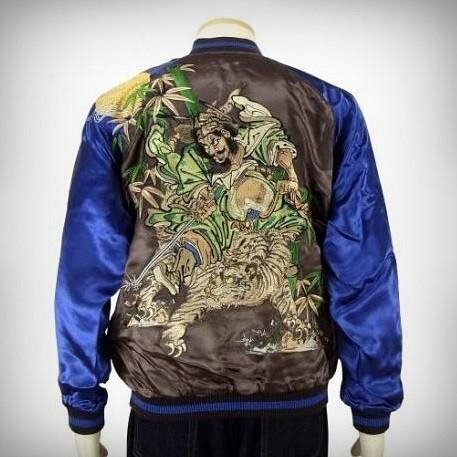 SUKAJAN แบรนด์แท้ญี่ปุ่น Japanese Souvenir Jacket แจ็คเกตซูกาจันลาย  Tiger and Samurai
