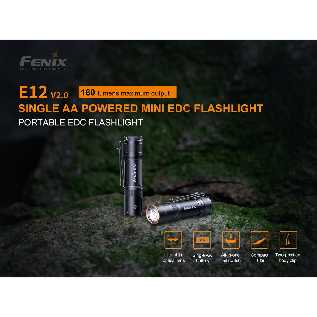 ไฟฉาย Fenix E12 V2.0   ถ่าน AA  หนึ่งก้อน 160im  สินค้าตัวแทนในไทยประกันสามปี