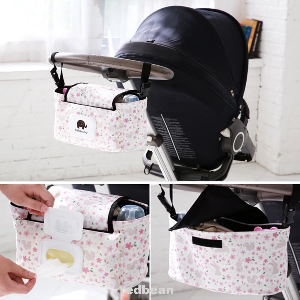 Diaper Storage Bag with Baby Wipes Dispenser White Polka Dot Universal Baby Trolley Storage Carriage Bag Stroller Buggy Pushchair Organizer