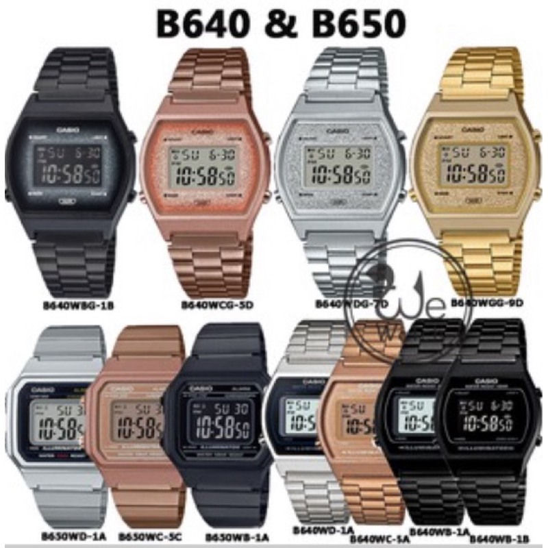 [FEBSAFE100 ลด 100 B] CASIO แท้ B640 B650 นาฬิกา DIGITAL พร้อมกล่องและรับประกัน 1 ปี B640WEGB B650WC-5A B640WGG-9D