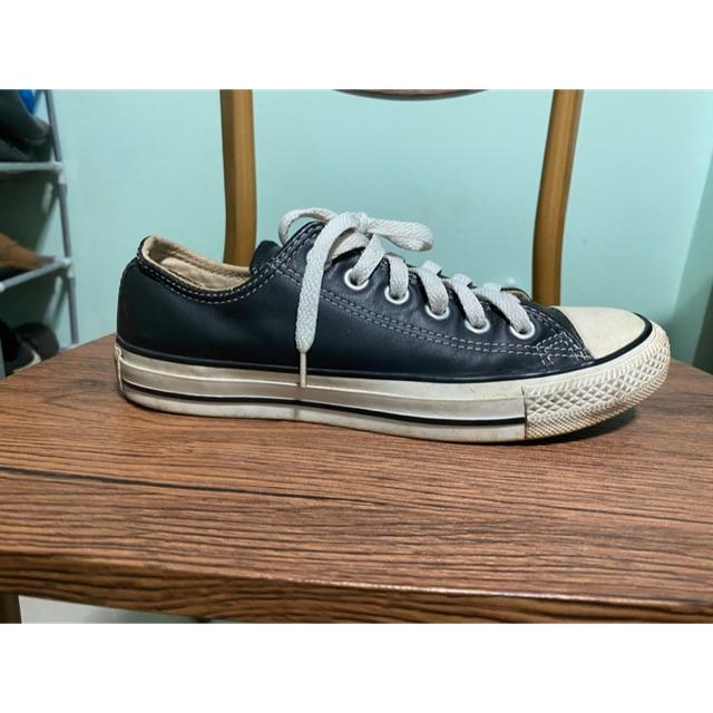 รองเท้า converse all star มือสองของแท้ หนังสีดำ
