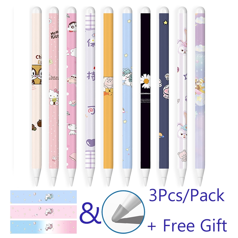 3 Pcs Apple Pencil Gen 2 Stickers iPad Pen Protective Paper Ultra Thin Cartoon Painted Touch Stylus pen Sticker