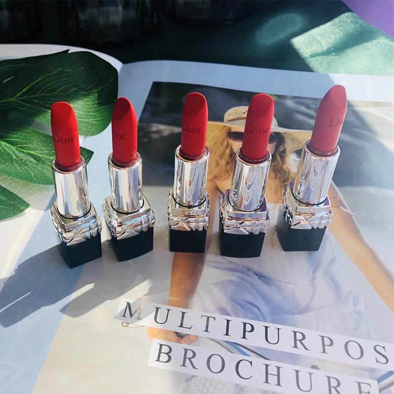 ◎✉💯 🔥ลิปสติกเนื้อลิขวิดให้ความชุ่มชื้นกันน้ําติดทนนาน 1 ชิ้น🔥.💯Dior Dior Lipstick Mini Flame Blue Gold 999 #888 # Ma