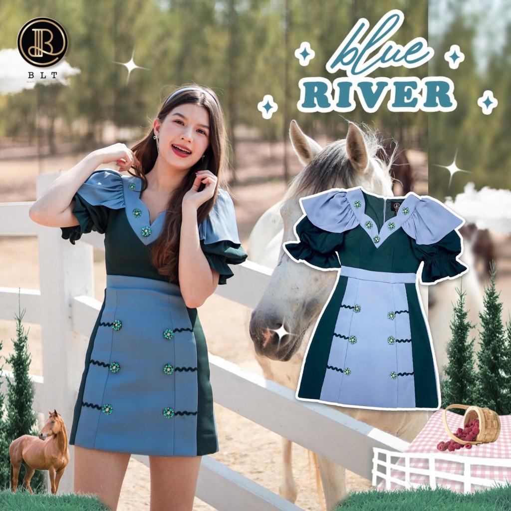 BLT BRAND การันตีเสื้อผ้าแบรนด์แท้ มินิเดรสสีเขียวฟ้า BLUE RIVER เหลือ Size Xs