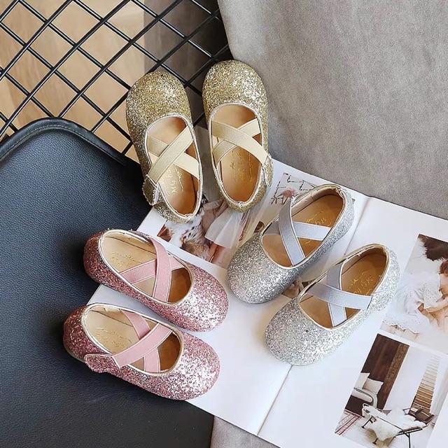 รองเท้าเด็ก คัชชูเกล็ดเพชรล้อม สีทอง , เงิน , ชมพู