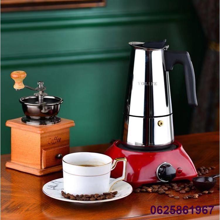 ✐◘☞หม้อกาแฟ หม้อต้มกาแฟสด เครื่องชงกาแฟเอสเพรสโซ่ มอคค่า กาต้มกาแฟสด เครื่องชงกาแฟสด เครื่องทำกาแฟ แบบปิคนิคพกพา สแตนเลส