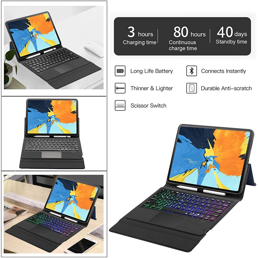 Bluetooth Keyboard Case for iPad Pro 11 Inch 2021 3rd Gen/2020 2nd Gen/2018 1st Gen with Trackpad 7 Color Backlit Leather Smart Wireless Protection Keyboard Case with Auto Sleep Wake Support Apple Pencil