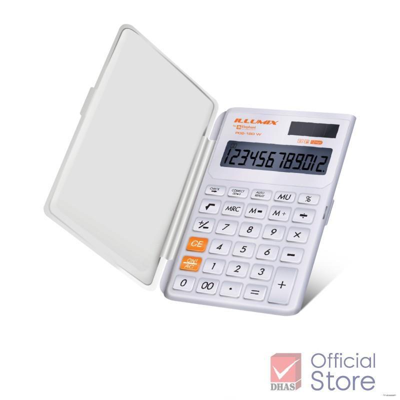 ยางยืดออกกําลังกาย☏☒Elephant Illumix เครื่องคิดเลข รุ่น P02-12D W จำนวน 1 เครื่อง